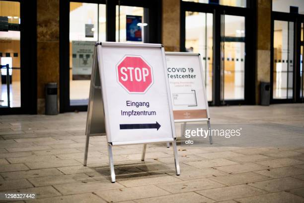entrance of covid-19 vaccination center - vaccination center stock pictures, royalty-free photos & images