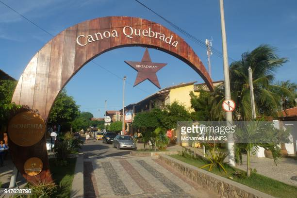 Entrance of famous tourist beach resort which symbol is the moon and star in May 2013 in Canoa Quebrada Brazil