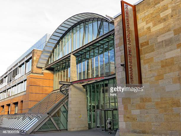 entrance of germanic national museum - germanisches nationalmuseum - nuremberg stock photos and pictures