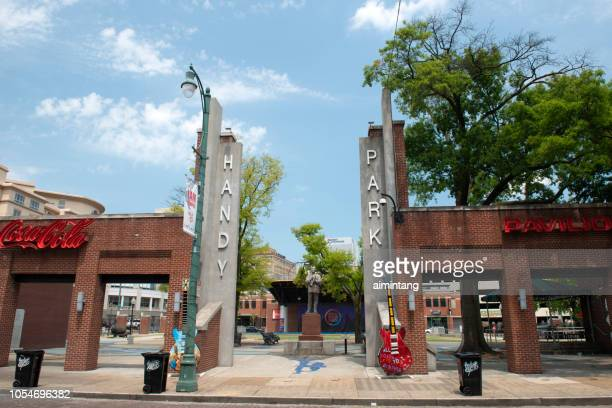 entrance of handy park on beale street in downtown memphis - memphis tennessee stock pictures, royalty-free photos & images