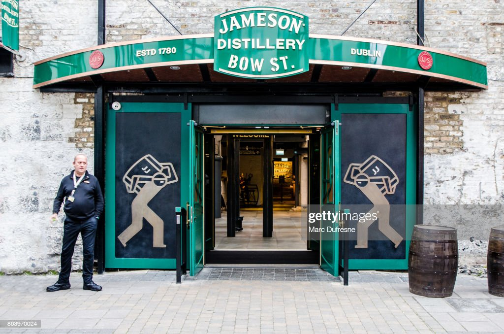Entrance of Jameson Distillery in Dublin during day of autumn : Stock Photo