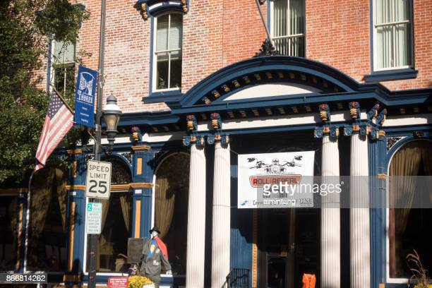 entrance of jim thorpe neighborhood bank on broadway street in downtown jim thorpe - jim thorpe pennsylvania stock photos and pictures