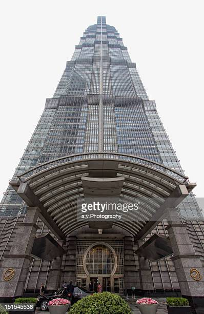 entrance of jin mao tower - andre vogelaere stock pictures, royalty-free photos & images