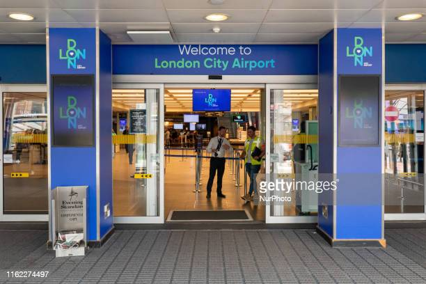 Entrance of London City Airport. The interior of London City Airport LCY EGLC, located in the Royal Docks in Borough of Newham, Silvertown near the...