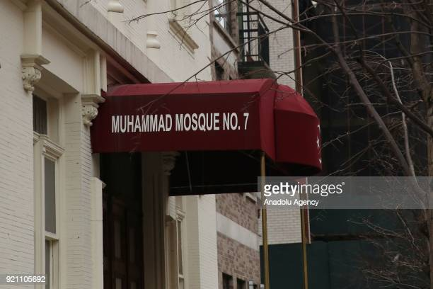 Entrance of Muhammad's Mosque Number Seven is seen ahead of 53rd anniversary of Malcolm X's assassination in Harlem neighborhood of Manhattan borough...