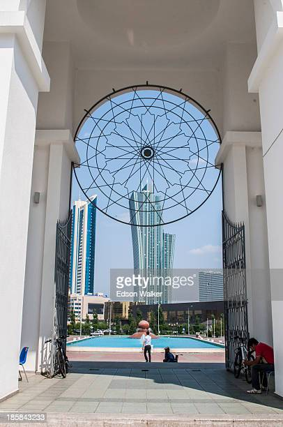 CONTENT] Entrance of NurAstana Mosque with view of the city in the background Astana Kazakhstan July 2013