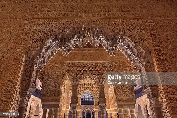 entrance of palace of the lions, alhambra, granada - alhambra granada fotografías e imágenes de stock