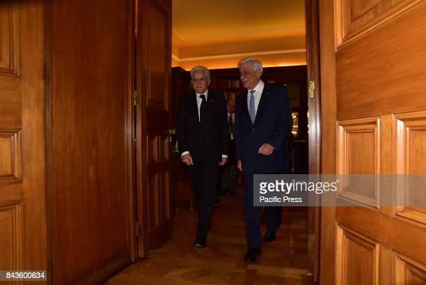 Entrance of President of Hellenic Republic Prokopis Pavlopoulos and President of Italy Sergio Mattarella during their meeting at Presidential Mansion...