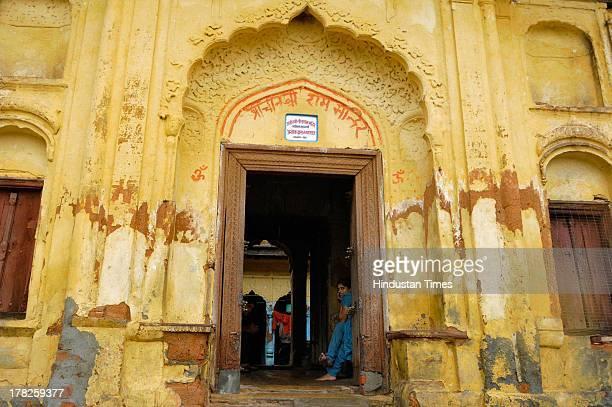 Entrance of Shri Sitaram Mandir at Laksman Ghat on August 27, 2013 in Ayodhya, India. Two days after the failed Parikarma attempt by Vishwa Hindu...