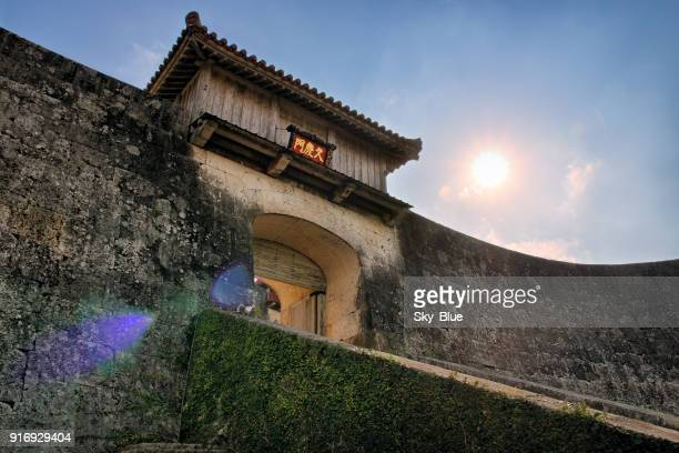 entrance of shuri castle in naha, okinawa, japan - shuri castle stock photos and pictures