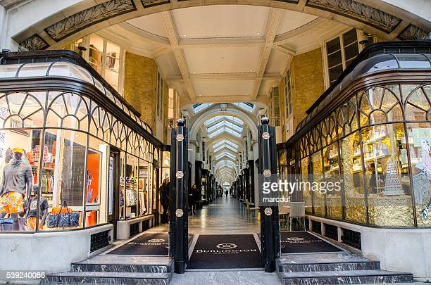 entrance of the burlington arcade shopping mall - the mall westminster stock photos and pictures