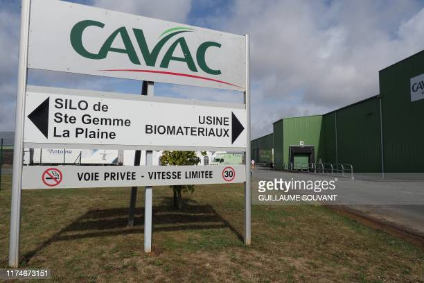 Entrance of the Cavac's plant is pictured on September 26 2019 in SaintGemmelaPlaine near Niort Western France
