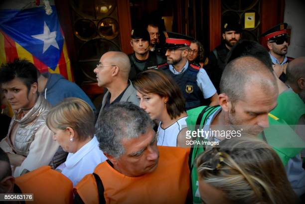 Entrance of the Economy Department of the Government of Catalonia is pictured where the Guardia Civil Spanish police stands guard during a protest...