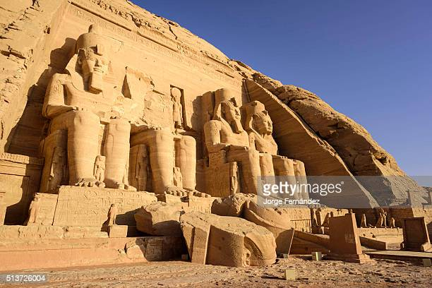 Entrance of the main temple of Abu Simbel at sunrise