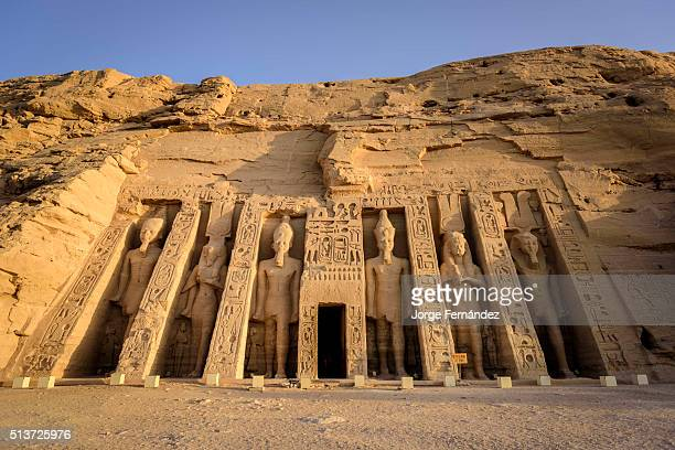 Entrance of the Nefertari temple of Abu Simbel complex at sunrise