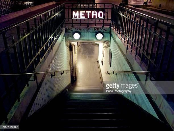 Entrance of the Paris Metro at night
