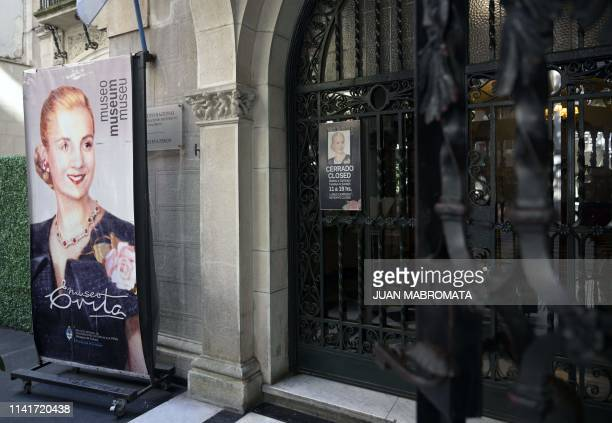 Entrance of the the Evita Museum in Buenos Aires on May 6 2019 May 7th marks the 100th anniversary of Eva Duarte de Peron's birth who was called the...