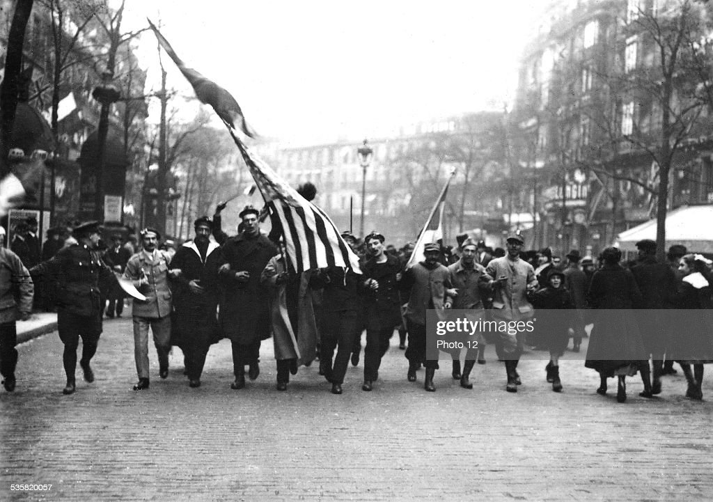 Entrance of the United States into the war: People celebrating it in Paris, April 1917, France - World War I.