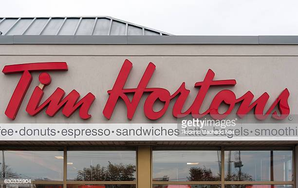 Entrance of Tim Hortons a multinational fast food restaurant based in Canada Famous for its coffee and doughnuts