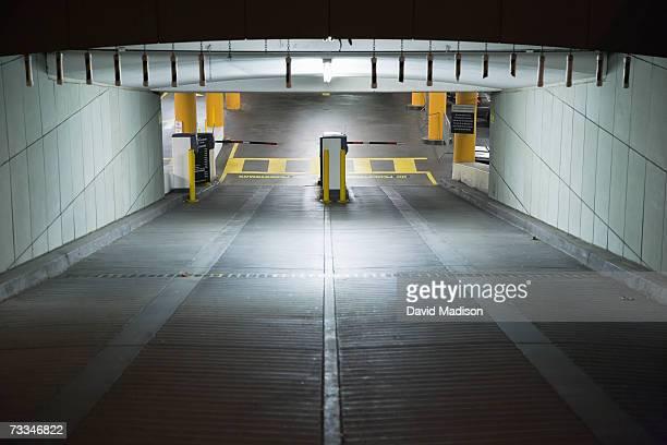 Entrance ramp to underground parking garage.