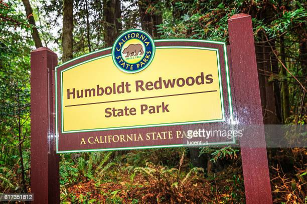 entrance sign, humboldt redwoods state park, ca - humboldt redwoods state park stock photos and pictures