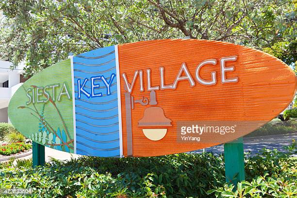 entrance sign of the beach front town siesta key florida - siesta key stock pictures, royalty-free photos & images