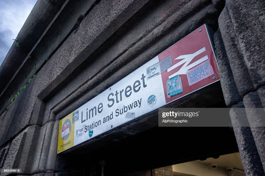 Entrance Sign To Liverpool Lime Street Subway Stock Photo