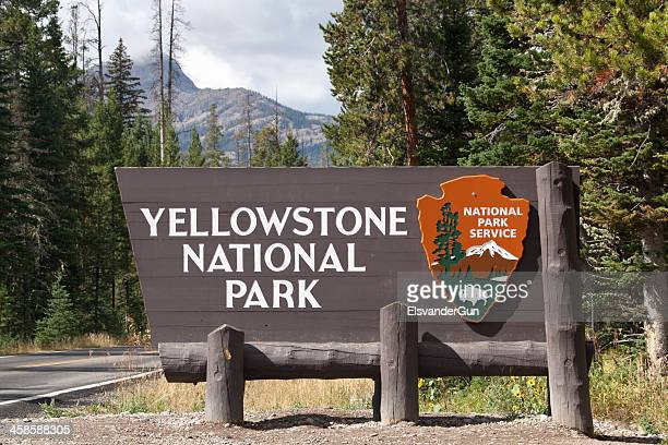 entrance sign yellowstone national park - national landmark stock pictures, royalty-free photos & images