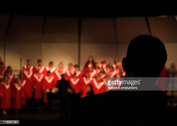entrance silhouette - choir stock pictures, royalty-free photos & images
