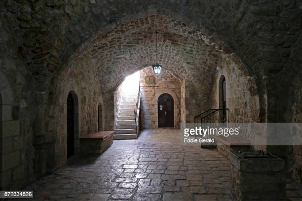 entrance to a greek orthodox nuns monastery in hakoptim street in the christian quarter old city east jerusalem israel - jerusalem old city stock pictures, royalty-free photos & images