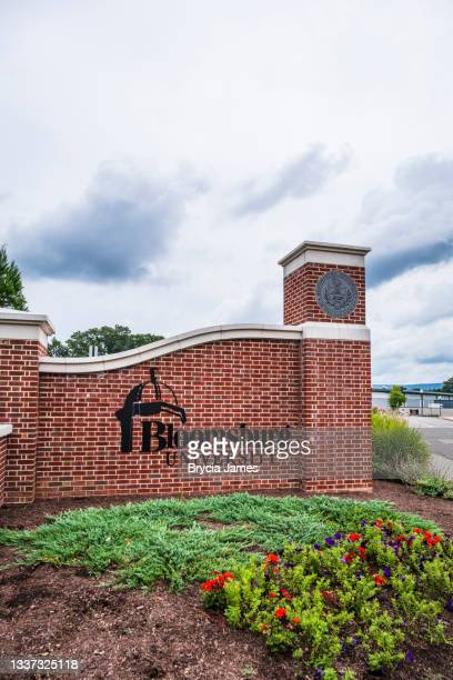 entrance to bloomsburg university - brycia james stock pictures, royalty-free photos & images