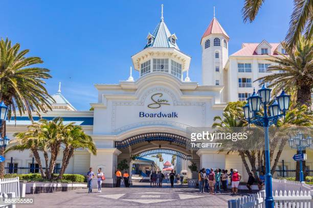 entrance to boardwalk casino in port elizabeth - port elizabeth south africa stock pictures, royalty-free photos & images