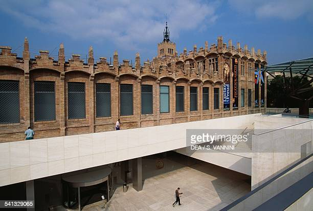 Entrance to CaixaForum opened in the former Casaramona factory Barcelona Spain