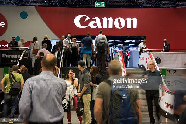 Entrance to Canon stand in Photokina 2014 in Cologne Germany 18 September 2014 Photokina the world's leading imaging fair brings together the...