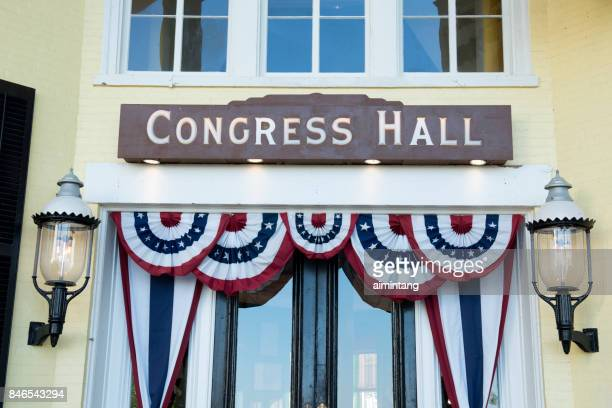 entrance to congress hall in cape may - cape may stock pictures, royalty-free photos & images