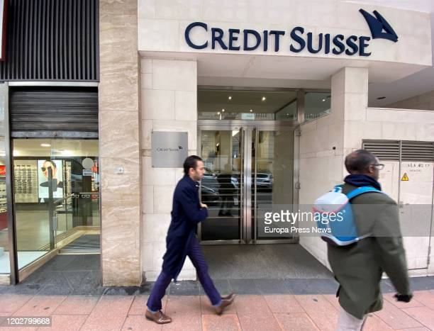 Entrance to Credit Suisse's headquarters on January 29 2020 in Madrid Spain
