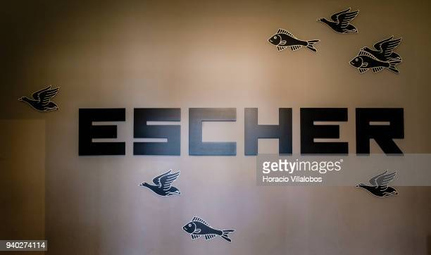 Entrance to Dutch artist Maurits Cornelis Escher exhibition in Museu de Arte Popular on March 30 2018 in Lisbon Portugal This exhibition presents the...