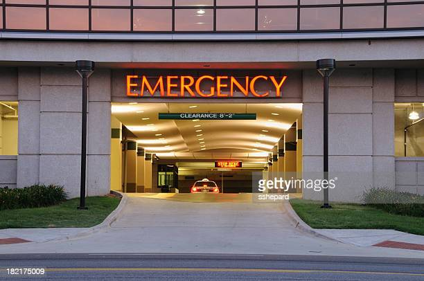 entrance to emergency room - hospital building stock photos and pictures