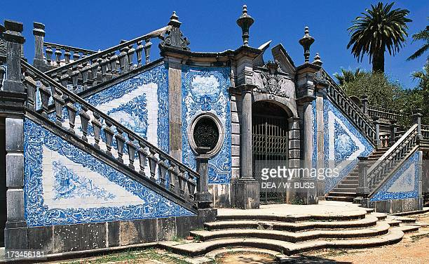 Entrance to Estoi Palace decorated with azulejos tiles Estoi Faro district Algarve Portugal