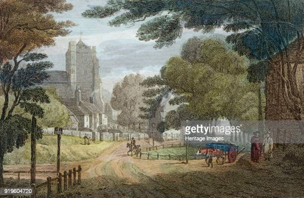 Entrance to Hastings East Sussex from Old London Road showing All Saints' Church circa 1790 Published by E Nye Tunbridge Wells From the Mayson Beeton...