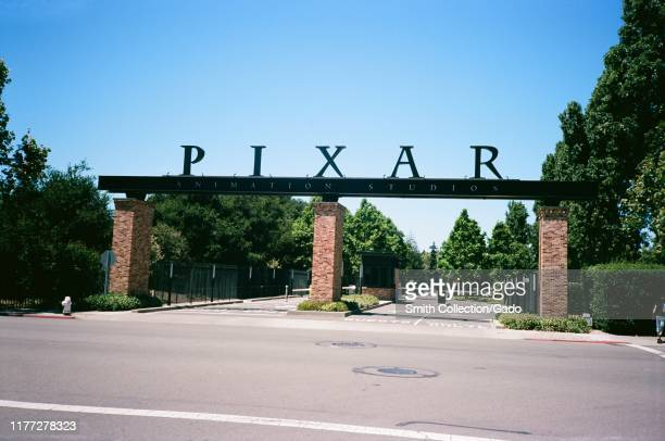 Entrance to headquarters of animation company Pixar in Emeryville California May 2019