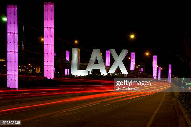entrance to los angeles international airport - lax airport stock pictures, royalty-free photos & images