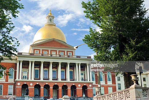 Entrance to Massachusetts State House in Boston, MA