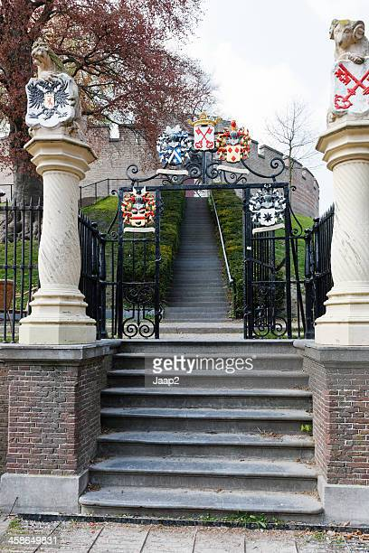 Entrance to medieval citadel Burcht in Leiden