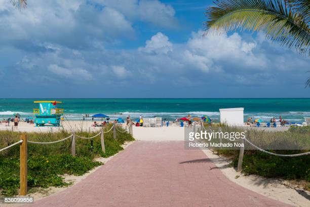 Entrance to Miami Beach from Ocean Drive Both places are major tourist attractions in the tropical city