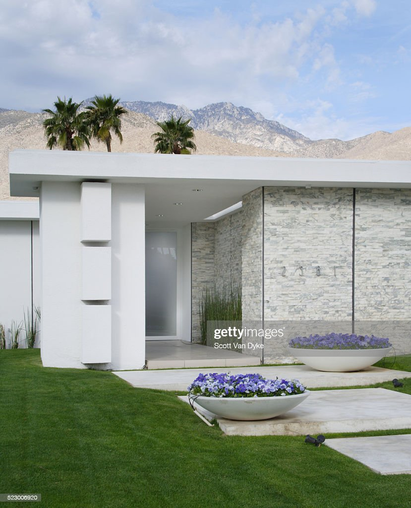 Entrance to modern house with stone cladding stock photo
