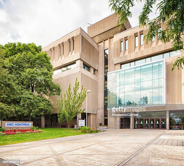 entrance to montreal university's business school with sign - global entry stock pictures, royalty-free photos & images
