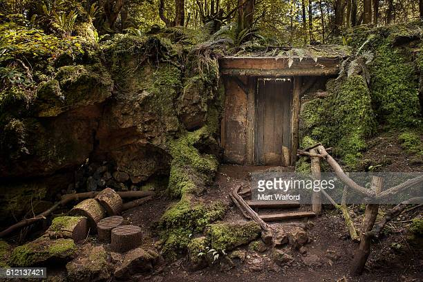 entrance to mysterious hidden wood building in forest - magic doors stock pictures, royalty-free photos & images