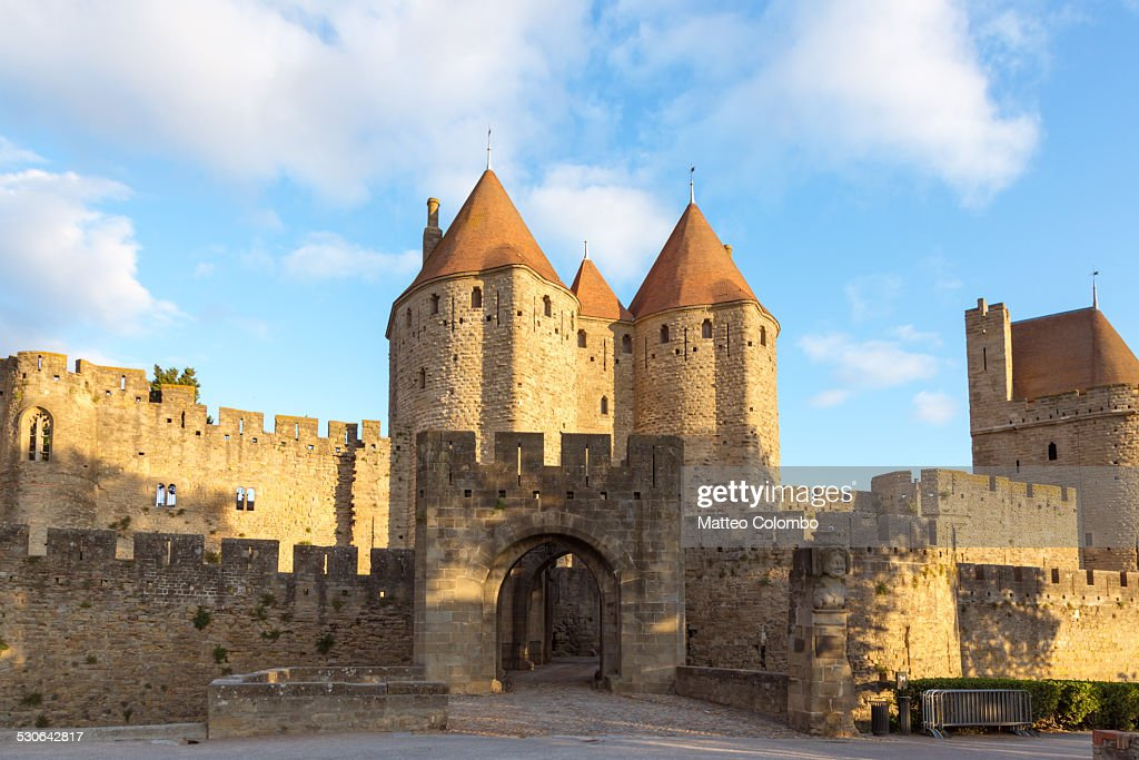 Entrance to old fortified town of Carcassonne : Stock Photo