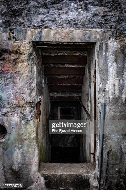 entrance to old german bunker in hvide sande denmark - finn bjurvoll bildbanksfoton och bilder